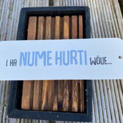 Bierdeckelkarton, Geschenk, Geschenkskarte, Karte mit Text, Spruchkarte, Dialekt, ha nume hurti wöue